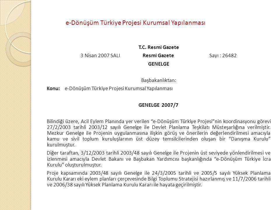T.C. Resmi Gazete 3 Nisan 2007 SALI Resmi Gazete Sayı : 26482 GENELGE Başbakanlıktan: Konu: e-Dönüşüm Türkiye Projesi Kurumsal Yapılanması GENELGE 200