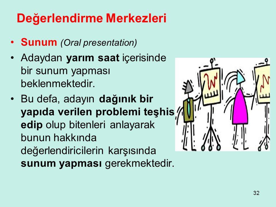 Değerlendirme Merkezleri •Sunum (Oral presentation) •Adaydan yarım saat içerisinde bir sunum yapması beklenmektedir. •Bu defa, adayın dağınık bir yapı