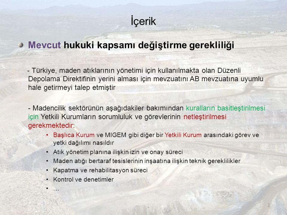 İçerik Mevcut hukuki kapsamı değiştirme gerekliliği - Türkiye, maden atıklarının yönetimi için kullanılmakta olan Düzenli Depolama Direktifinin yerini alması için mevzuatını AB mevzuatına uyumlu hale getirmeyi talep etmiştir - Madencilik sektörünün aşağıdakiler bakımından kuralların basitleştirilmesi için Yetkili Kurumların sorumluluk ve görevlerinin netleştirilmesi gerekmektedir: •Başlıca Kurum ve MIGEM gibi diğer bir Yetkili Kurum arasındaki görev ve yetki dağılımı nasıldır •Atık yönetim planına ilişkin izin ve onay süreci •Maden atığı bertaraf tesislerinin inşaatına ilişkin teknik gereklilikler •Kapatma ve rehabilitasyon süreci •Kontrol ve denetimler •… 2