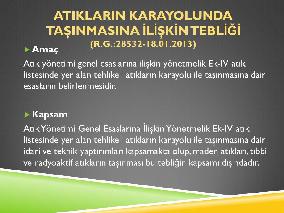 ATIKLARIN KARAYOLUNDA TAŞINMASINA İ L İ ŞK İ N TEBL İĞİ (R.G.:28532-18.01.2013)  Amaç Atık yönetimi genel esaslarına ilişkin yönetmelik Ek-IV atık li