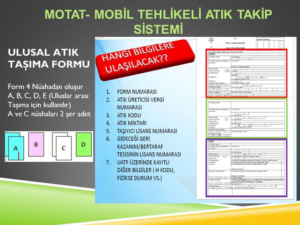 ULUSAL ATIK TAŞIMA FORMU Form 4 Nüshadan oluşur A, B, C, D, E (Uluslar arası Taşıma için kullanılır) A ve C nüshaları 2 şer adet