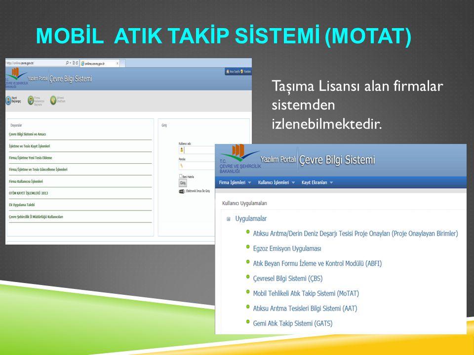 MOBİL ATIK TAKİP SİSTEMİ (MOTAT) Taşıma Lisansı alan firmalar sistemden izlenebilmektedir.