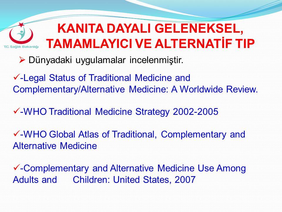  Dünyadaki uygulamalar incelenmiştir.  -Legal Status of Traditional Medicine and Complementary/Alternative Medicine: A Worldwide Review.  -WHO Trad