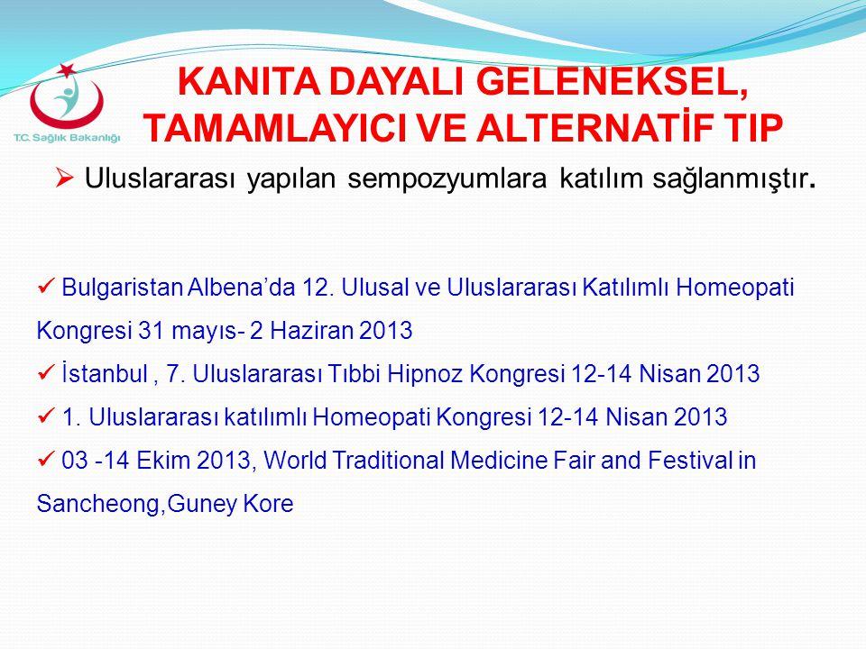  Uluslararası yapılan sempozyumlara katılım sağlanmıştır.  Bulgaristan Albena'da 12. Ulusal ve Uluslararası Katılımlı Homeopati Kongresi 31 mayıs- 2