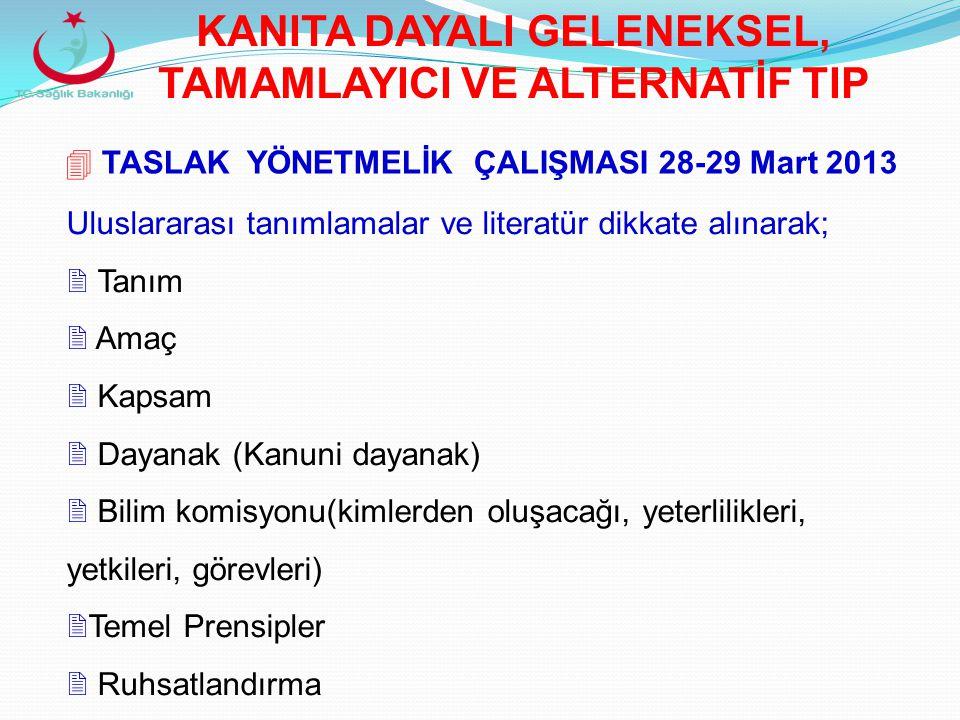  TASLAK YÖNETMELİK ÇALIŞMASI 28-29 Mart 2013 Uluslararası tanımlamalar ve literatür dikkate alınarak;  Tanım  Amaç  Kapsam  Dayanak (Kanuni dayan