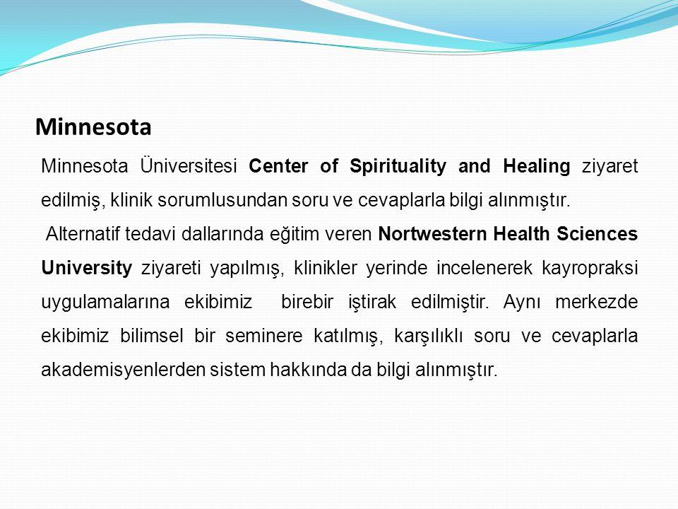 Minnesota Minnesota Üniversitesi Center of Spirituality and Healing ziyaret edilmiş, klinik sorumlusundan soru ve cevaplarla bilgi alınmıştır. Alterna