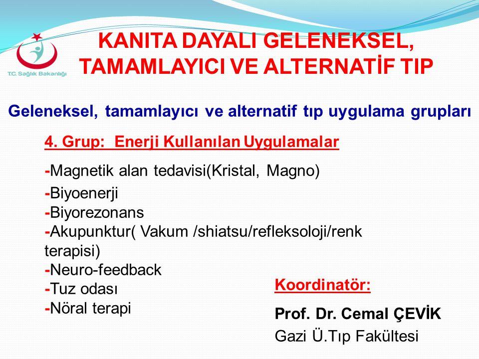 Geleneksel, tamamlayıcı ve alternatif tıp uygulama grupları 4. Grup: Enerji Kullanılan Uygulamalar -Magnetik alan tedavisi(Kristal, Magno) -Biyoenerji