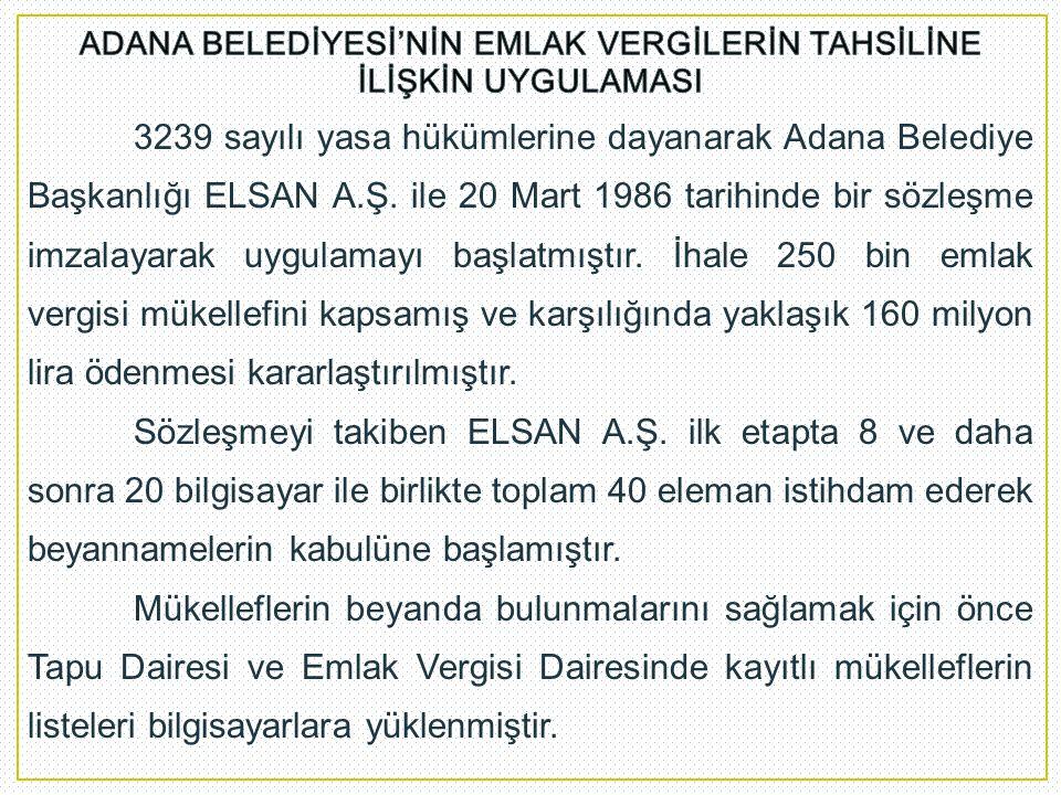 3239 sayılı yasa hükümlerine dayanarak Adana Belediye Başkanlığı ELSAN A.Ş. ile 20 Mart 1986 tarihinde bir sözleşme imzalayarak uygulamayı başlatmıştı