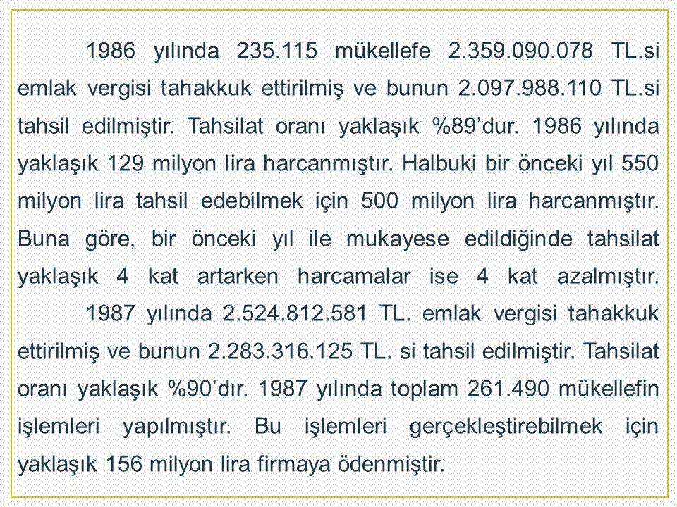 1986 yılında 235.115 mükellefe 2.359.090.078 TL.si emlak vergisi tahakkuk ettirilmiş ve bunun 2.097.988.110 TL.si tahsil edilmiştir. Tahsilat oranı ya