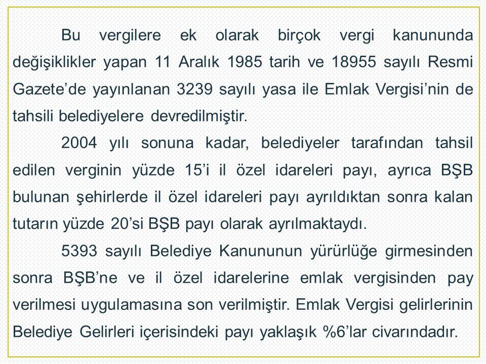 Bu vergilere ek olarak birçok vergi kanununda değişiklikler yapan 11 Aralık 1985 tarih ve 18955 sayılı Resmi Gazete'de yayınlanan 3239 sayılı yasa ile