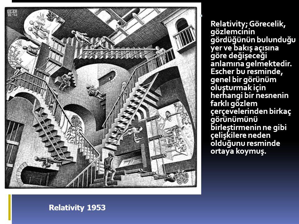 Relativity 1953  Relativity; Görecelik, gözlemcinin gördüğünün bulunduğu yer ve bakış açısına göre değişeceği anlamına gelmektedir. Escher bu resmind