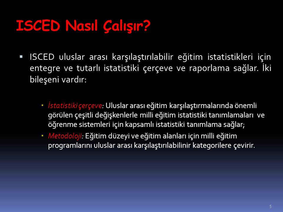 5  ISCED uluslar arası karşılaştırılabilir eğitim istatistikleri için entegre ve tutarlı istatistiki çerçeve ve raporlama sağlar. İki bileşeni vardır