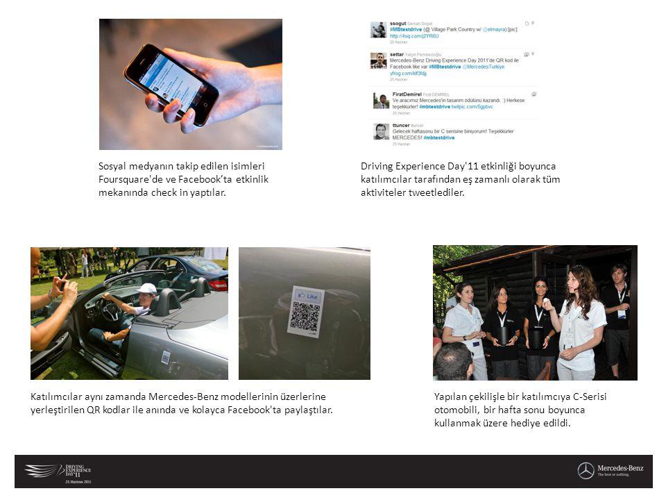Katılımcılar aynı zamanda Mercedes-Benz modellerinin üzerlerine yerleştirilen QR kodlar ile anında ve kolayca Facebook'ta paylaştılar. Sosyal medyanın