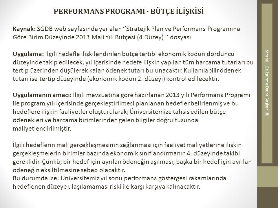 PERFORMANS PROGRAMI - BÜTÇE İLİŞKİSİ Kaynak: SGDB web sayfasında yer alan ''Stratejik Plan ve Performans Programına Göre Birim Düzeyinde 2013 Mali Yıl