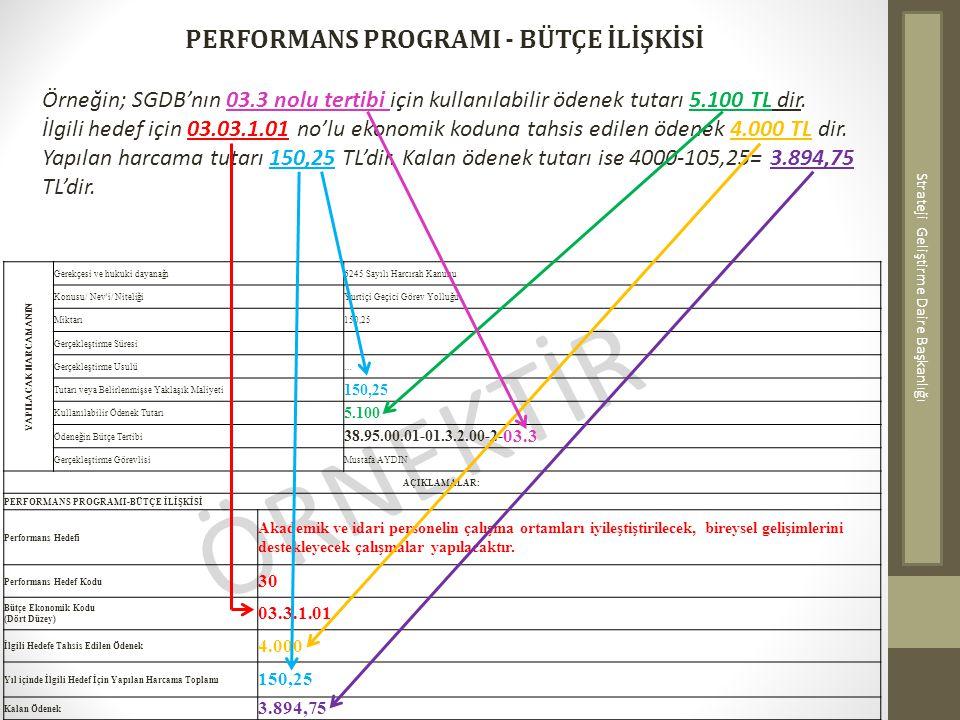 ÖRNEKTİR PERFORMANS PROGRAMI - BÜTÇE İLİŞKİSİ Örneğin; SGDB'nın 03.3 nolu tertibi için kullanılabilir ödenek tutarı 5.100 TL dir. İlgili hedef için 03