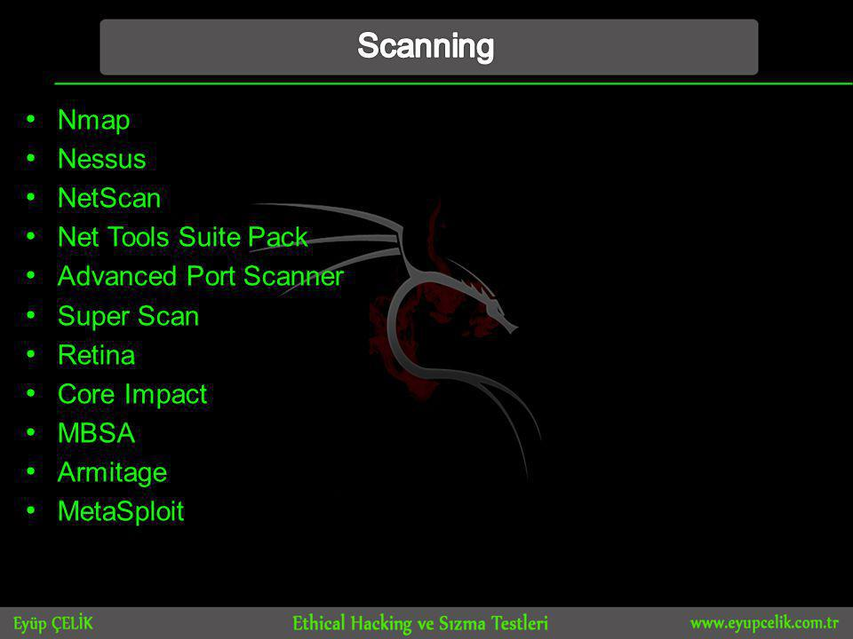 • Nmap • Nessus • NetScan • Net Tools Suite Pack • Advanced Port Scanner • Super Scan • Retina • Core Impact • MBSA • Armitage • MetaSploit