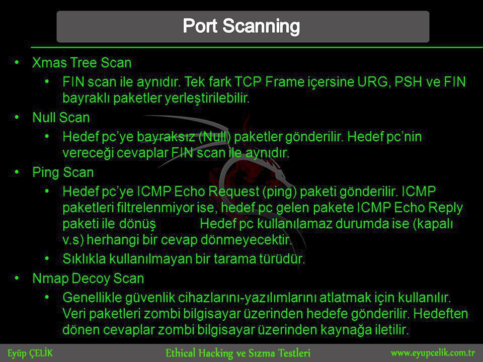 • Xmas Tree Scan • FIN scan ile aynıdır.