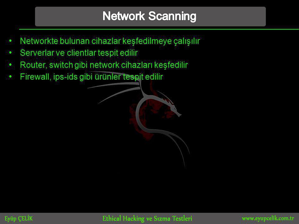 • Networkte bulunan cihazlar keşfedilmeye çalışılır • Serverlar ve clientlar tespit edilir • Router, switch gibi network cihazları keşfedilir • Firewall, ips-ids gibi ürünler tespit edilir