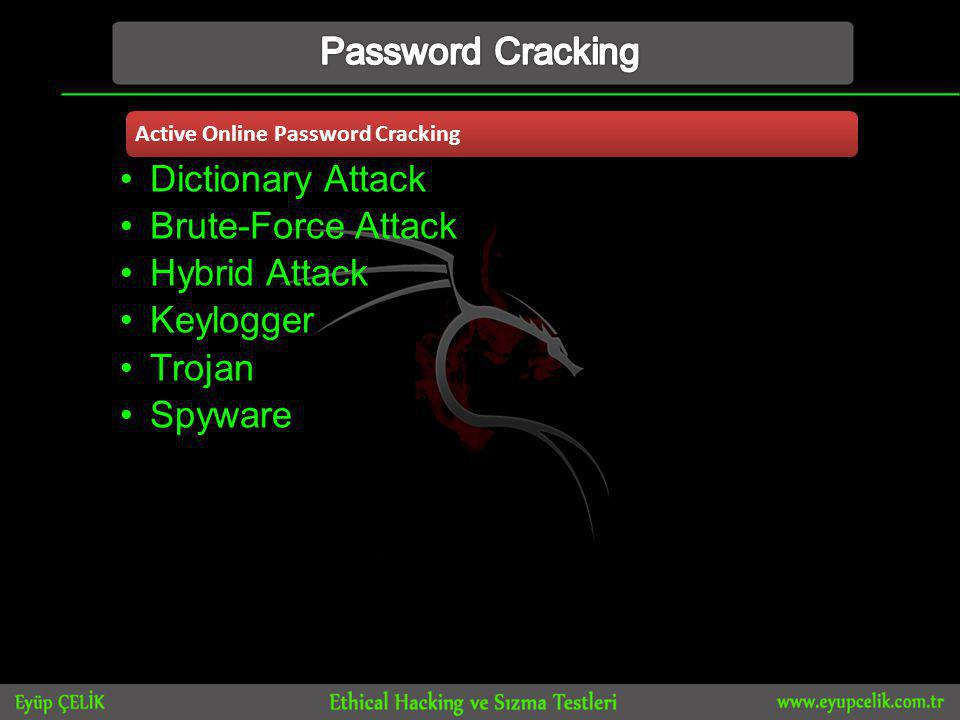 Active Online Password Cracking •Dictionary Attack •Brute-Force Attack •Hybrid Attack •Keylogger •Trojan •Spyware