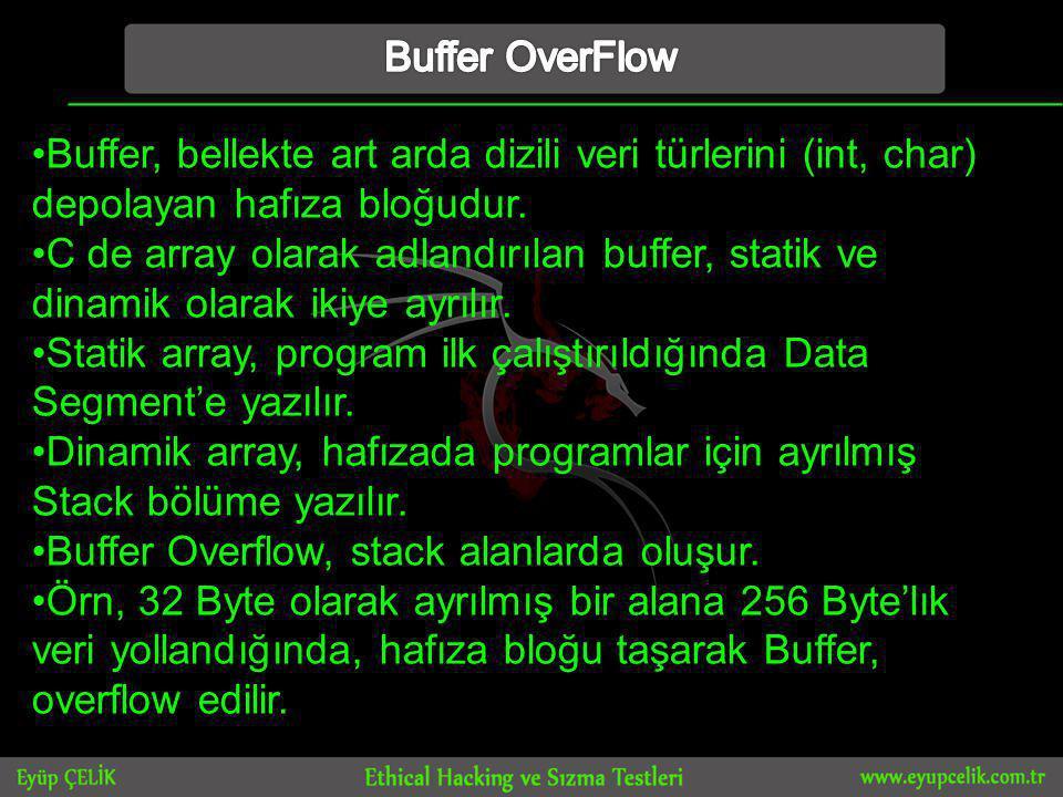 •Buffer, bellekte art arda dizili veri türlerini (int, char) depolayan hafıza bloğudur.