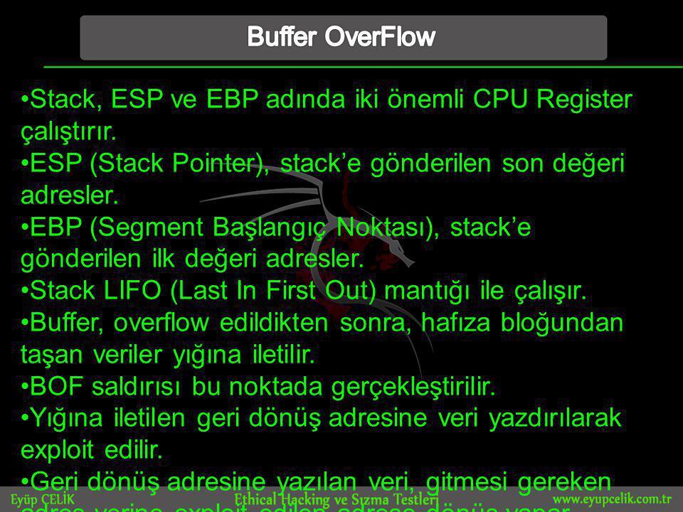 •Stack, ESP ve EBP adında iki önemli CPU Register çalıştırır.