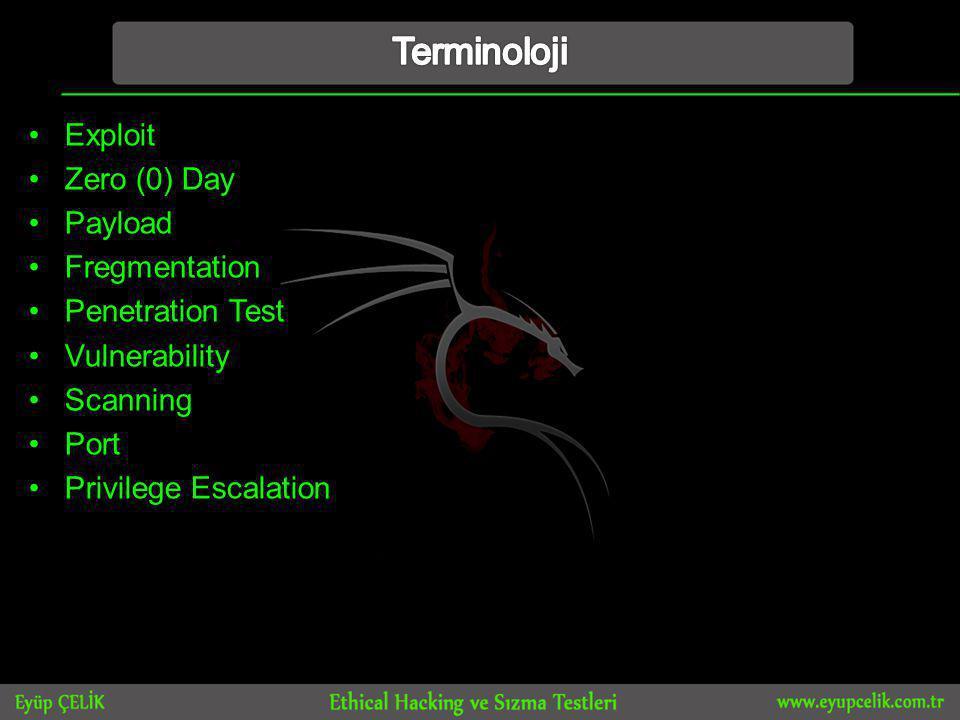 •Exploit •Zero (0) Day •Payload •Fregmentation •Penetration Test •Vulnerability •Scanning •Port •Privilege Escalation