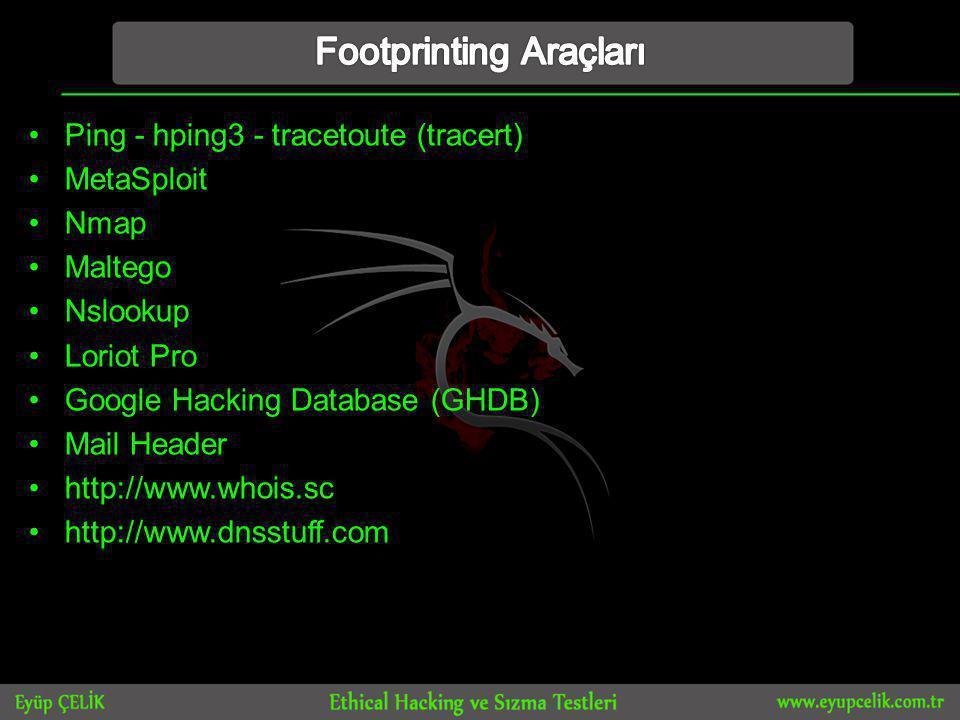 •Ping - hping3 - tracetoute (tracert) •MetaSploit •Nmap •Maltego •Nslookup •Loriot Pro •Google Hacking Database (GHDB) •Mail Header •http://www.whois.sc •http://www.dnsstuff.com