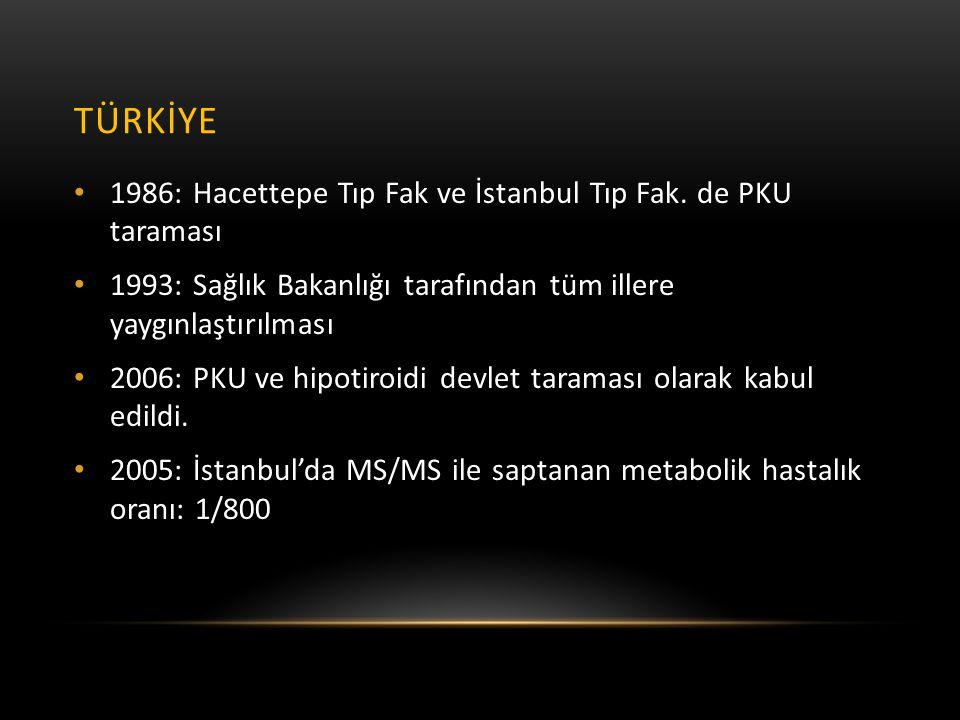 TÜRKİYE • 1986: Hacettepe Tıp Fak ve İstanbul Tıp Fak. de PKU taraması • 1993: Sağlık Bakanlığı tarafından tüm illere yaygınlaştırılması • 2006: PKU v