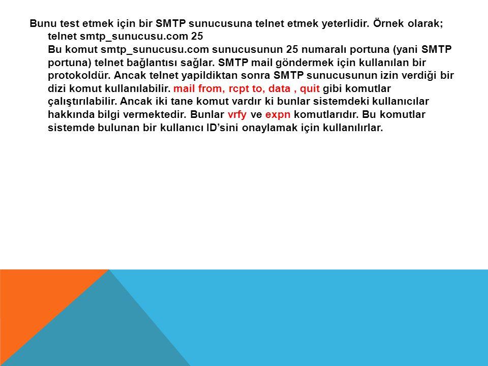 Bunu test etmek için bir SMTP sunucusuna telnet etmek yeterlidir. Örnek olarak; telnet smtp_sunucusu.com 25 Bu komut smtp_sunucusu.com sunucusunun 25