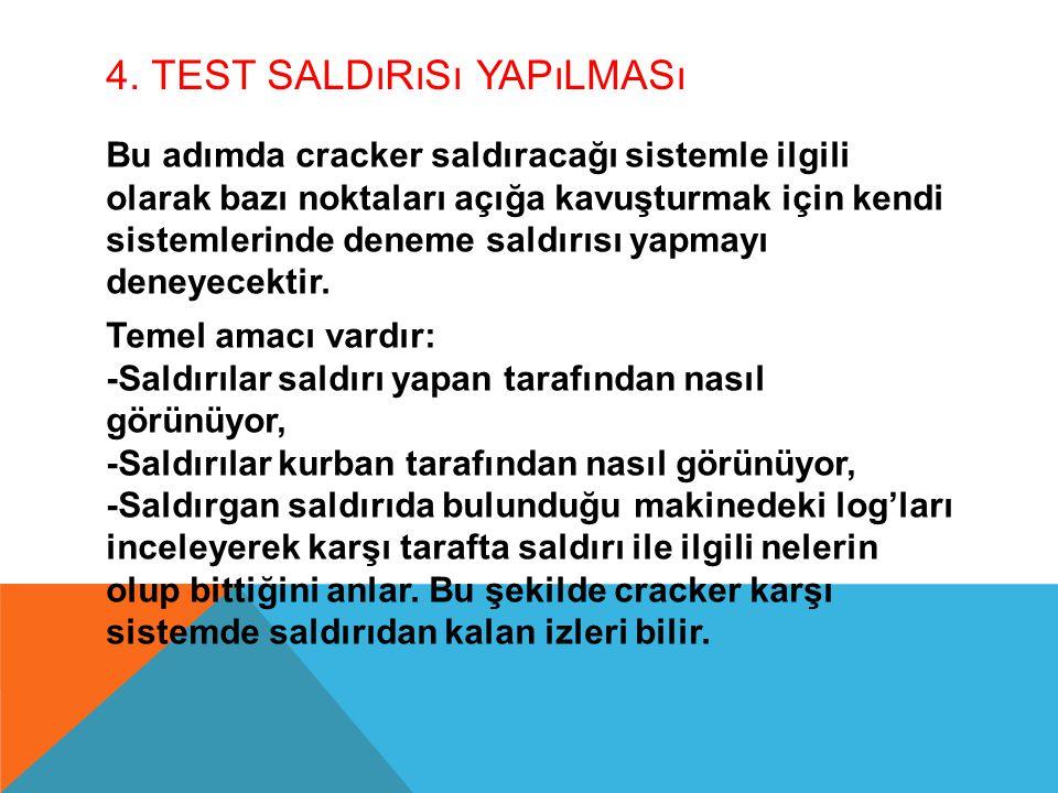4. TEST SALDıRıSı YAPıLMASı Bu adımda cracker saldıracağı sistemle ilgili olarak bazı noktaları açığa kavuşturmak için kendi sistemlerinde deneme sald