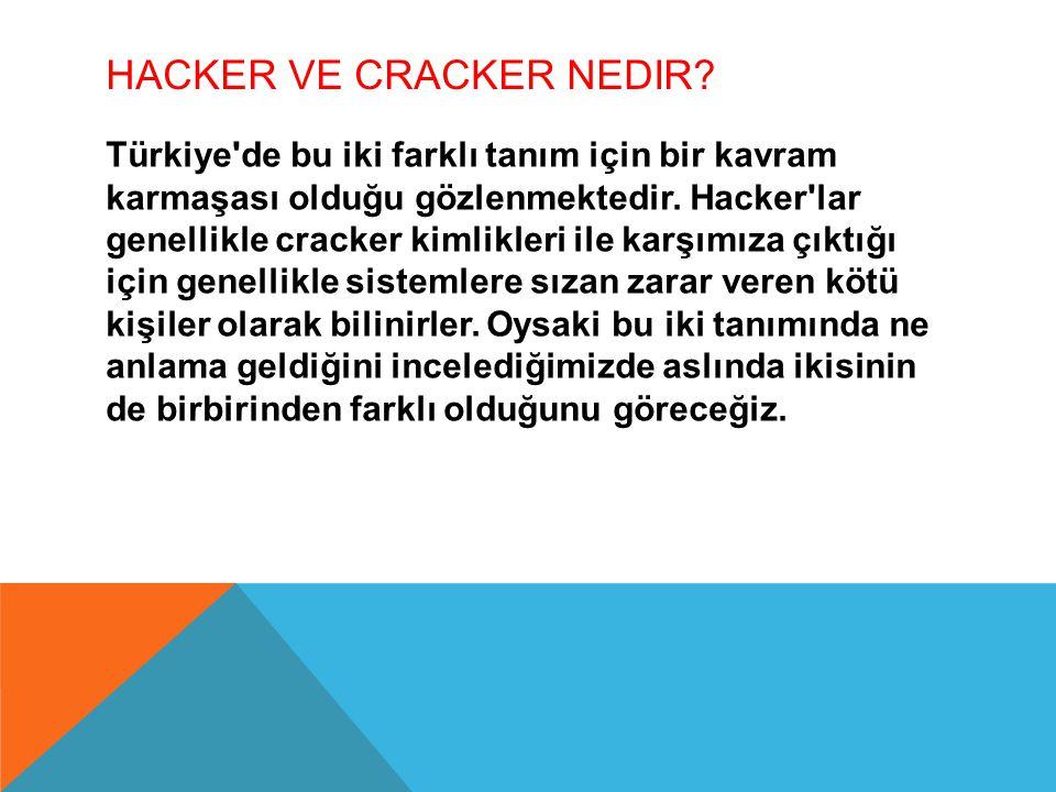HACKER VE CRACKER NEDIR? Türkiye'de bu iki farklı tanım için bir kavram karmaşası olduğu gözlenmektedir. Hacker'lar genellikle cracker kimlikleri ile