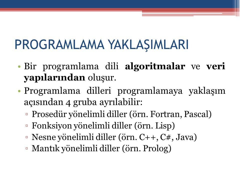 PROGRAMLAMA YAKLAŞIMLARI •Bir programlama dili algoritmalar ve veri yapılarından oluşur. •Programlama dilleri programlamaya yaklaşım açısından 4 gruba