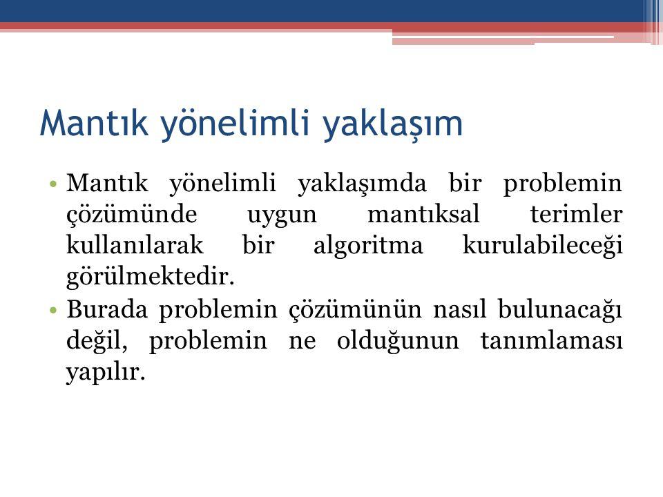 Mantık yönelimli yaklaşım •Mantık yönelimli yaklaşımda bir problemin çözümünde uygun mantıksal terimler kullanılarak bir algoritma kurulabileceği görü