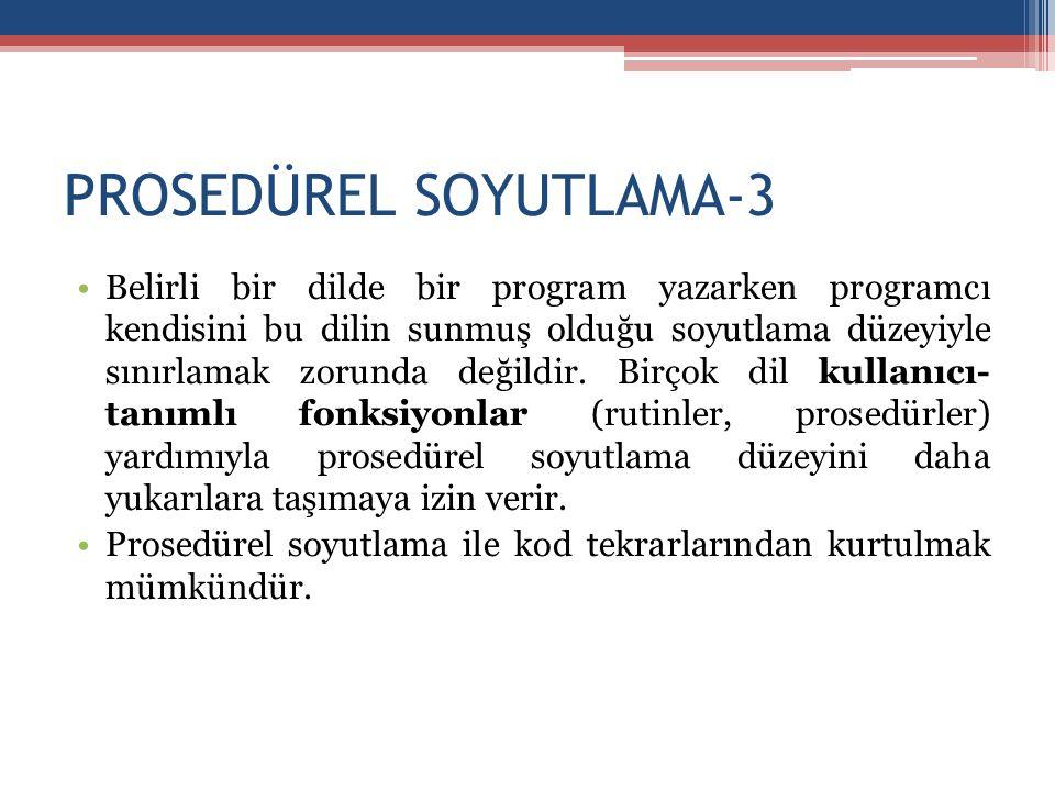 PROSEDÜREL SOYUTLAMA-3 •Belirli bir dilde bir program yazarken programcı kendisini bu dilin sunmuş olduğu soyutlama düzeyiyle sınırlamak zorunda değil
