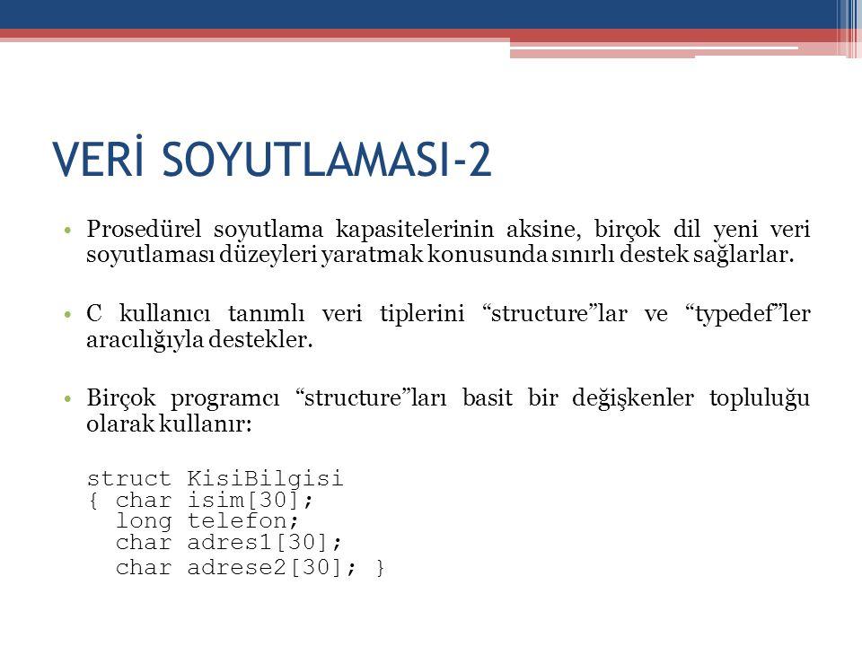 VERİ SOYUTLAMASI-2 •Prosedürel soyutlama kapasitelerinin aksine, birçok dil yeni veri soyutlaması düzeyleri yaratmak konusunda sınırlı destek sağlarla