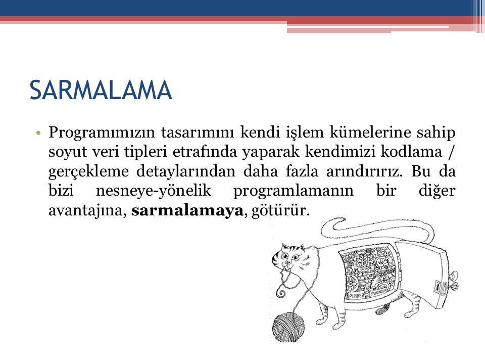 SARMALAMA •Programımızın tasarımını kendi işlem kümelerine sahip soyut veri tipleri etrafında yaparak kendimizi kodlama / gerçekleme detaylarından dah