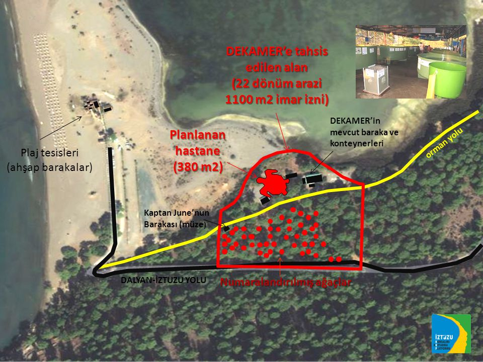 DEKAMER'e tahsis edilen alan (22 dönüm arazi 1100 m2 imar izni) DALYAN-İZTUZU YOLU orman yolu Plaj tesisleri (ahşap barakalar) Numaralandırılmış ağaçlar Kaptan June'nun Barakası (müze ) Planlanan hastane (380 m2) DEKAMER'in mevcut baraka ve konteynerleri