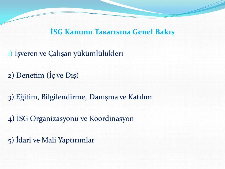 İSG Kanunu Tasarısına Genel Bakış 1) İşveren ve Çalışan yükümlülükleri 2) Denetim (İç ve Dış) 3) Eğitim, Bilgilendirme, Danışma ve Katılım 4) İSG Orga