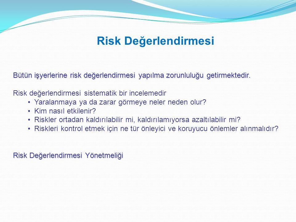 Bütün işyerlerine risk değerlendirmesi yapılma zorunluluğu getirmektedir. Risk değerlendirmesi sistematik bir incelemedir • Yaralanmaya ya da zarar gö