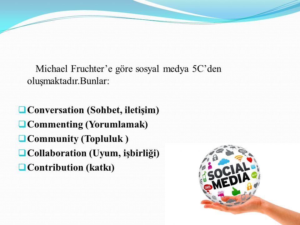 Michael Fruchter'e göre sosyal medya 5C'den oluşmaktadır.Bunlar:  Conversation (Sohbet, iletişim)  Commenting (Yorumlamak)  Community (Topluluk ) 