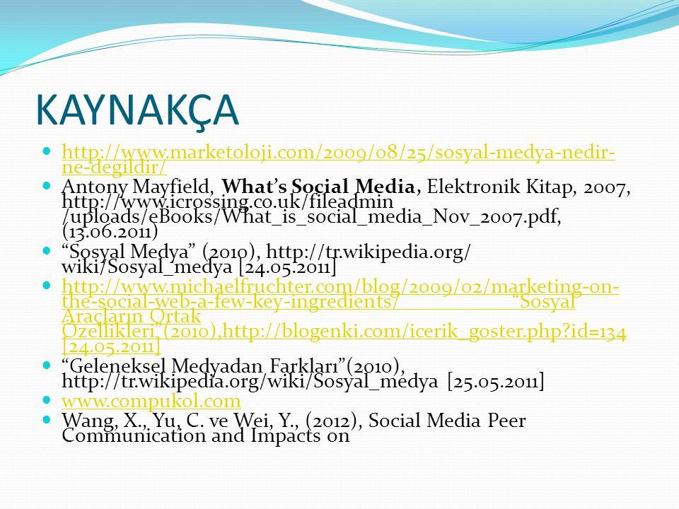 KAYNAKÇA  http://www.marketoloji.com/2009/08/25/sosyal-medya-nedir- ne-degildir/ http://www.marketoloji.com/2009/08/25/sosyal-medya-nedir- ne-degildi