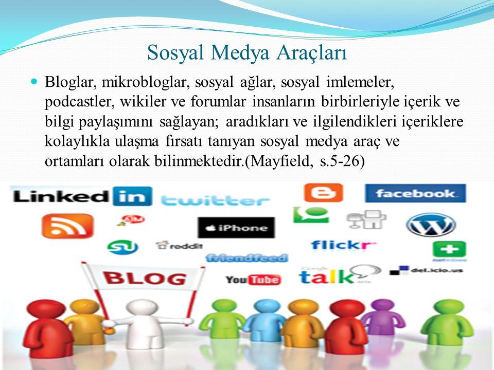 Sosyal Medya Araçları  Bloglar, mikrobloglar, sosyal ağlar, sosyal imlemeler, podcastler, wikiler ve forumlar insanların birbirleriyle içerik ve bilg