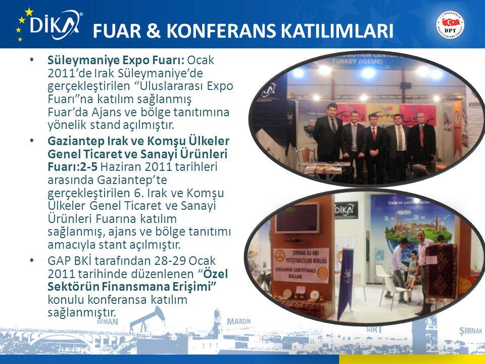 FUAR & KONFERANS KATILIMLARI • Süleymaniye Expo Fuarı: Ocak 2011'de Irak Süleymaniye'de gerçekleştirilen Uluslararası Expo Fuarı na katılım sağlanmış Fuar'da Ajans ve bölge tanıtımına yönelik stand açılmıştır.