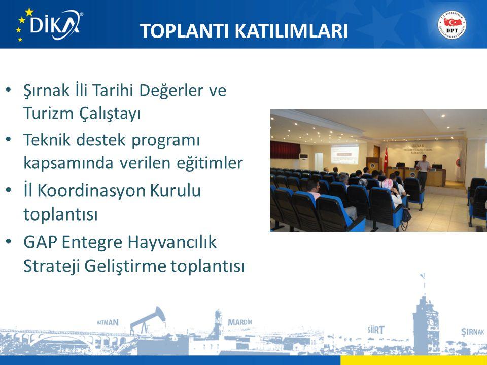 TOPLANTI KATILIMLARI • Şırnak İli Tarihi Değerler ve Turizm Çalıştayı • Teknik destek programı kapsamında verilen eğitimler • İl Koordinasyon Kurulu toplantısı • GAP Entegre Hayvancılık Strateji Geliştirme toplantısı