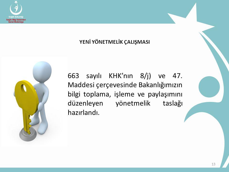 • 663 sayılı KHK'nın 8/j) ve 47. Maddesi çerçevesinde Bakanlığımızın bilgi toplama, işleme ve paylaşımını düzenleyen yönetmelik taslağı hazırlandı. 13