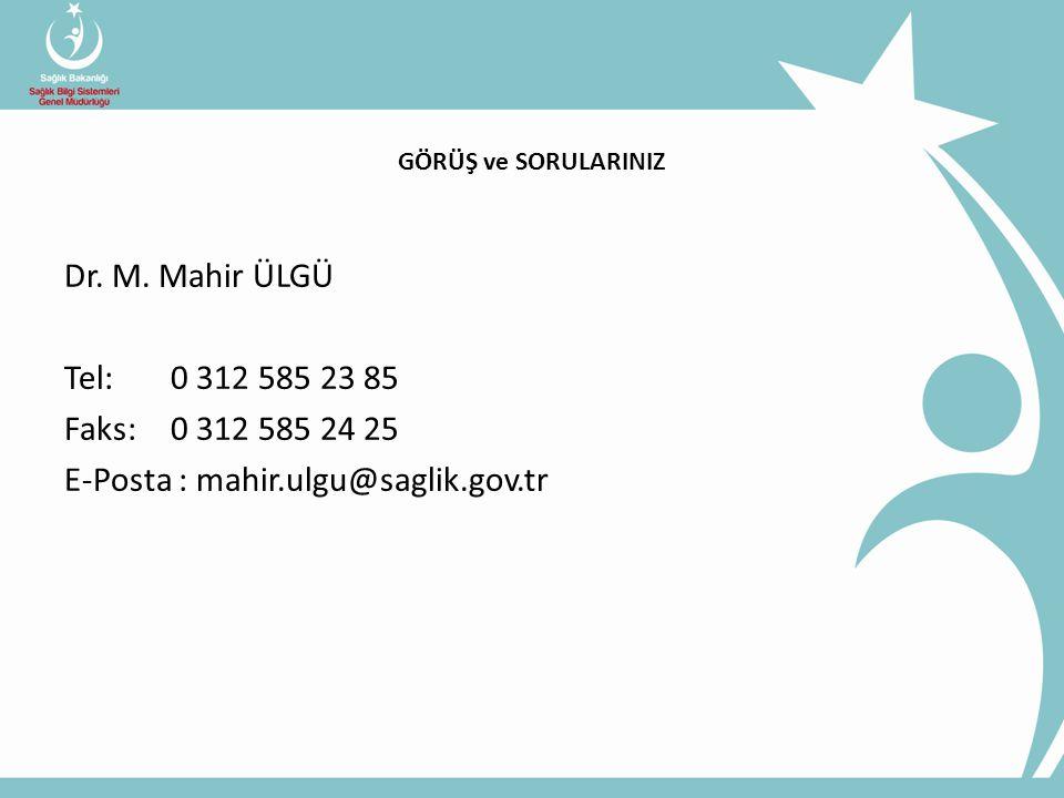 Dr. M. Mahir ÜLGÜ Tel: 0 312 585 23 85 Faks: 0 312 585 24 25 E-Posta : mahir.ulgu@saglik.gov.tr GÖRÜŞ ve SORULARINIZ