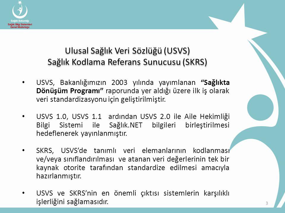 """• USVS, Bakanlığımızın 2003 yılında yayımlanan """"Sağlıkta Dönüşüm Programı"""" raporunda yer aldığı üzere ilk iş olarak veri standardizasyonu için gelişti"""