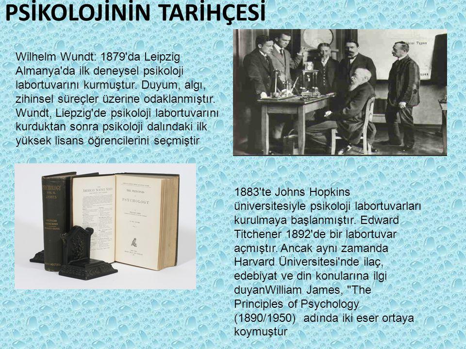 PSİKOLOJİNİN TARİHÇESİ Wilhelm Wundt: 1879'da Leipzig Almanya'da ilk deneysel psikoloji labortuvarını kurmuştur. Duyum, algı, zihinsel süreçler üzerin