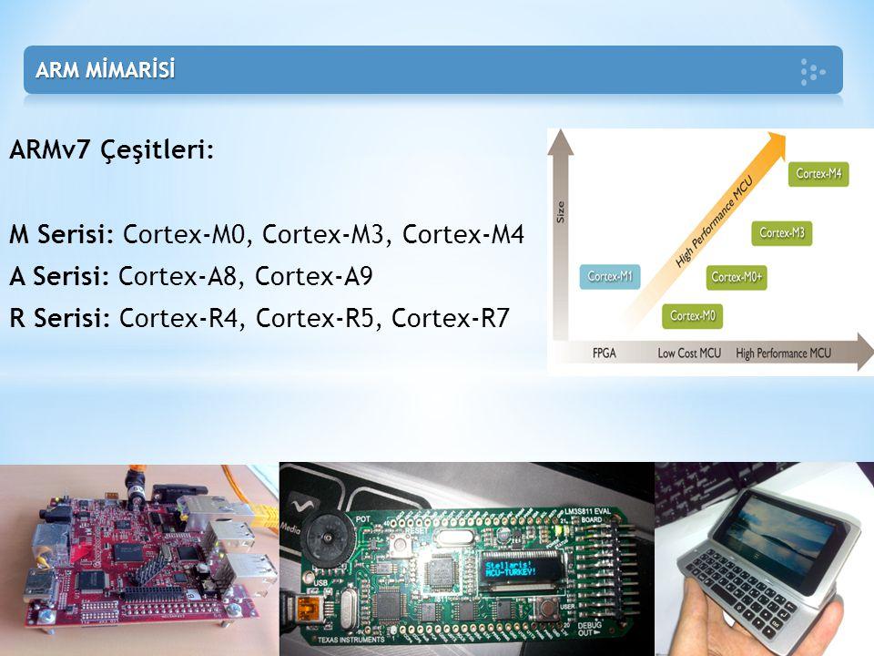 ARMv7 Çeşitleri: M Serisi: Cortex-M0, Cortex-M3, Cortex-M4 A Serisi: Cortex-A8, Cortex-A9 R Serisi: Cortex-R4, Cortex-R5, Cortex-R7