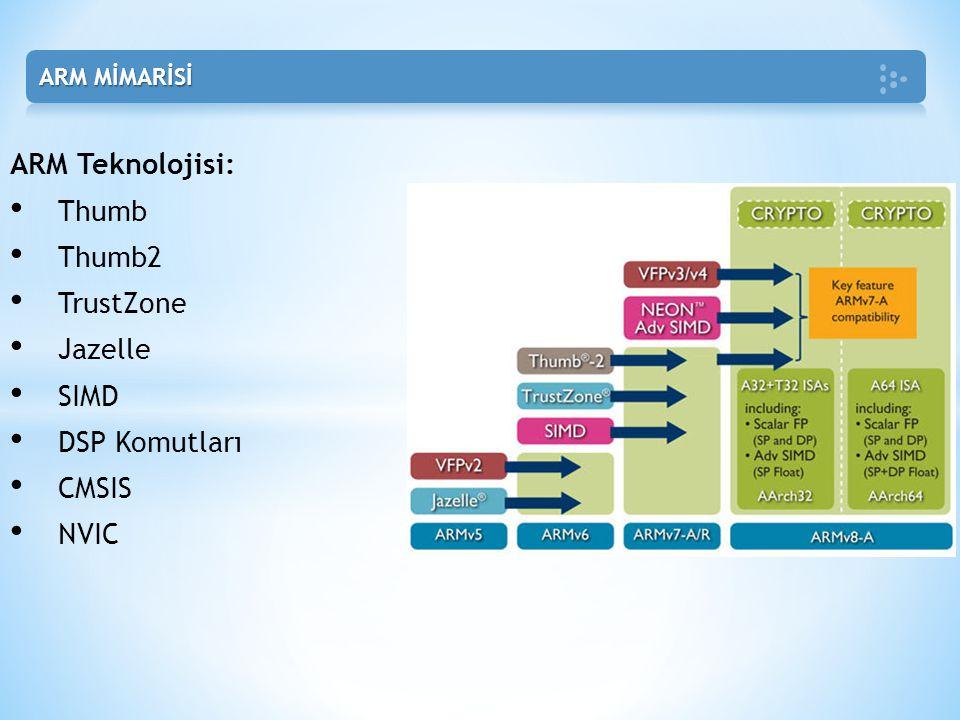 ARM Teknolojisi: • Thumb • Thumb2 • TrustZone • Jazelle • SIMD • DSP Komutları • CMSIS • NVIC